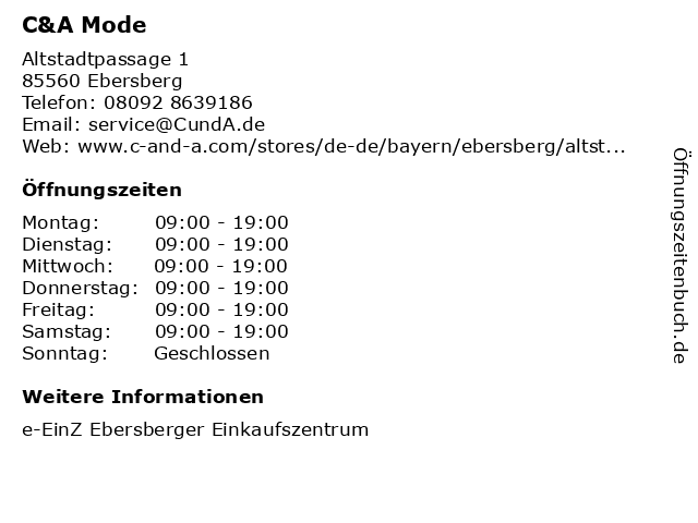 C&A Mode GmbH & Co. KG in Ebersberg: Adresse und Öffnungszeiten