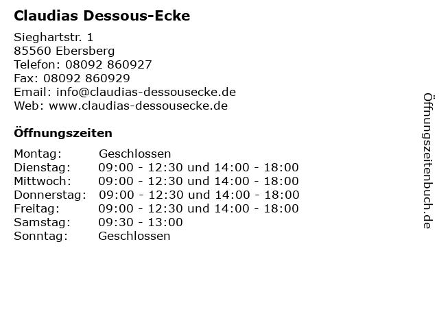 Claudias Dessous-Ecke in Ebersberg: Adresse und Öffnungszeiten