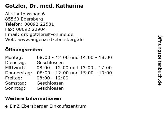 Gotzler, Dr. med. Katharina in Ebersberg: Adresse und Öffnungszeiten