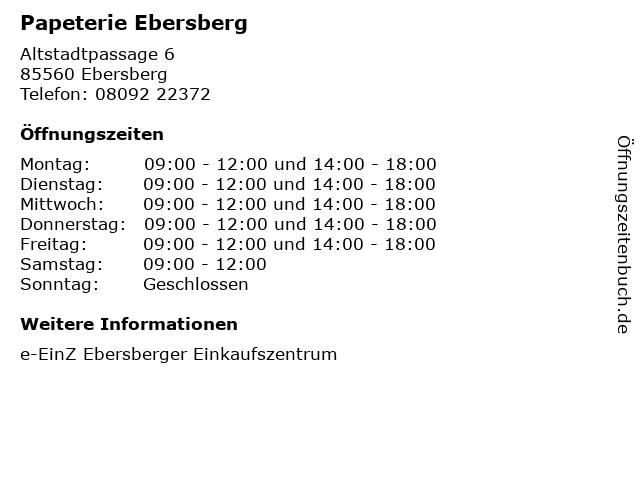 Papeterie Ebersberg in Ebersberg: Adresse und Öffnungszeiten