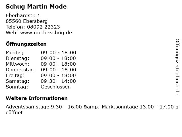 Schug Martin Mode in Ebersberg: Adresse und Öffnungszeiten