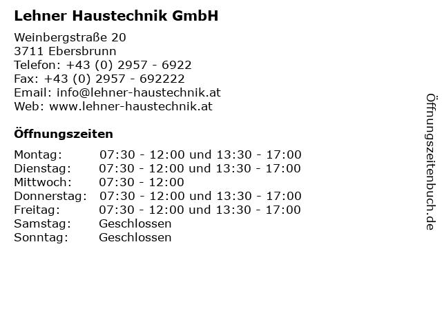 Lehner Haustechnik GmbH in Ebersbrunn: Adresse und Öffnungszeiten