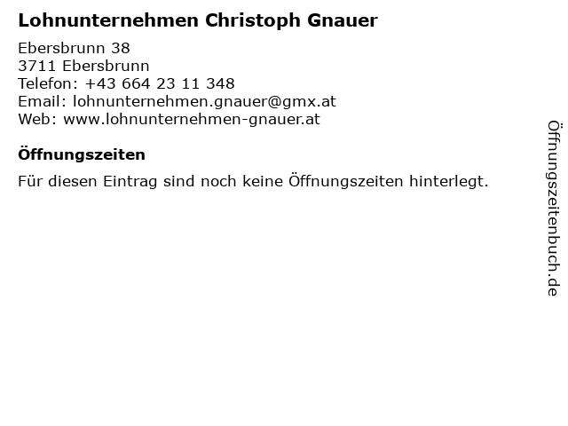 Lohnunternehmen Christoph Gnauer in Ebersbrunn: Adresse und Öffnungszeiten