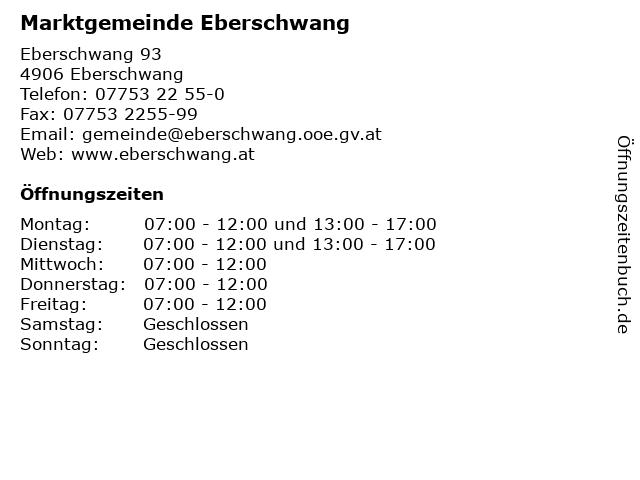 Marktgemeinde Eberschwang in Eberschwang: Adresse und Öffnungszeiten
