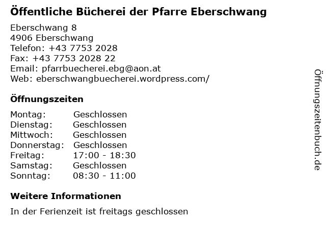 Öffentliche Bücherei der Pfarre Eberschwang in Eberschwang: Adresse und Öffnungszeiten