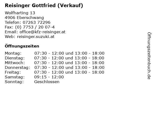 Reisinger Gottfried (Verkauf) in Eberschwang: Adresse und Öffnungszeiten