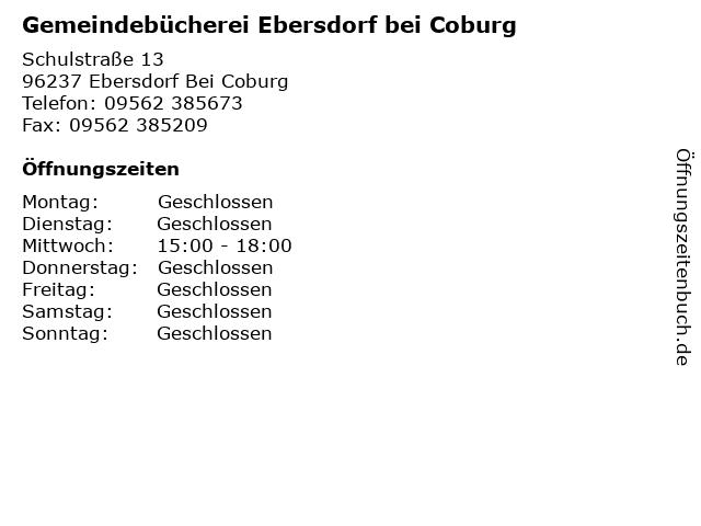 Gemeindebücherei Ebersdorf bei Coburg in Ebersdorf Bei Coburg: Adresse und Öffnungszeiten