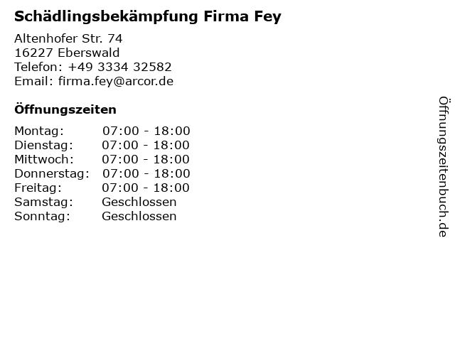 Schädlingsbekämpfung Firma Fey in Eberswald: Adresse und Öffnungszeiten