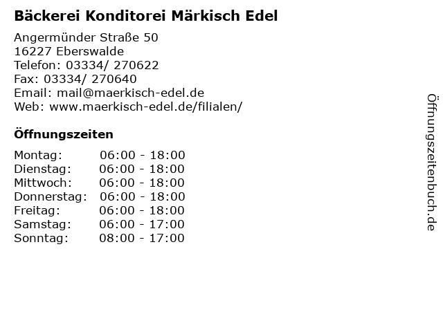 Bäckerei Konditorei Märkisch Edel in Eberswalde: Adresse und Öffnungszeiten