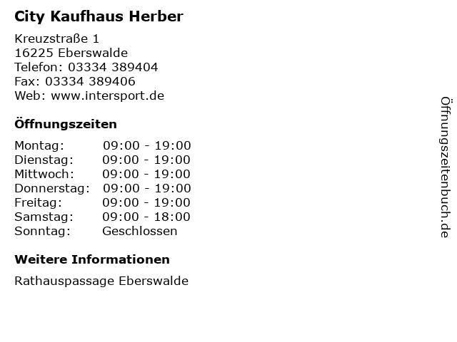 City Kaufhaus Herber in Eberswalde: Adresse und Öffnungszeiten