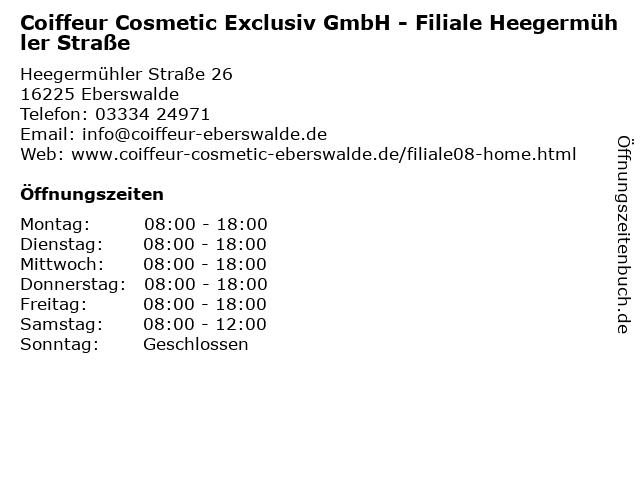 Coiffeur Cosmetic Exclusiv GmbH - Filiale Heegermühler Straße in Eberswalde: Adresse und Öffnungszeiten