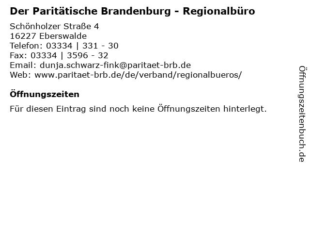 Der Paritätische Brandenburg - Regionalbüro in Eberswalde: Adresse und Öffnungszeiten