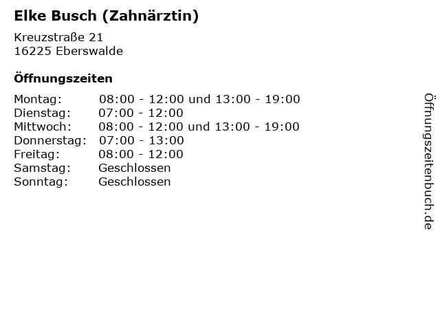 Elke Busch (Zahnärztin) in Eberswalde: Adresse und Öffnungszeiten