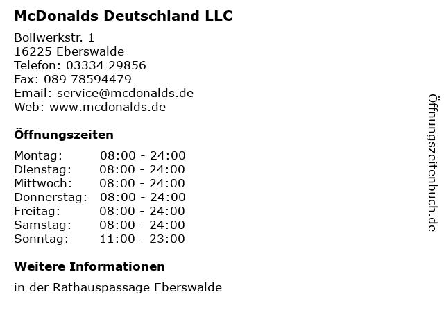 McDonalds Deutschland LLC in Eberswalde: Adresse und Öffnungszeiten