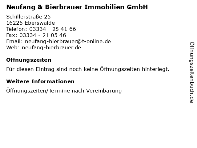 Neufang & Bierbrauer Immobilien GmbH in Eberswalde: Adresse und Öffnungszeiten
