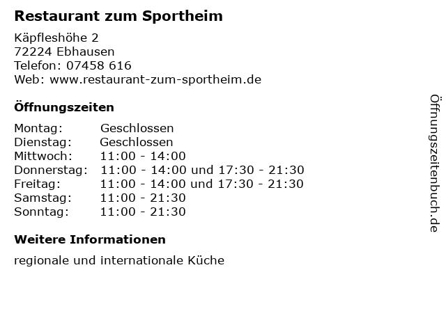 Restaurant zum Sportheim in Ebhausen: Adresse und Öffnungszeiten