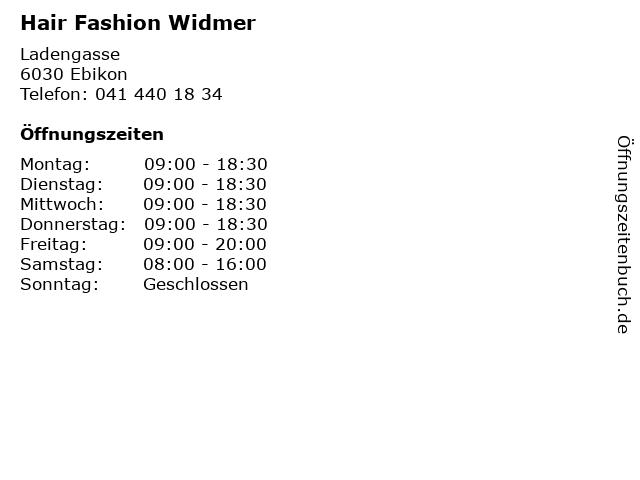 Hair Fashion Widmer in Ebikon: Adresse und Öffnungszeiten