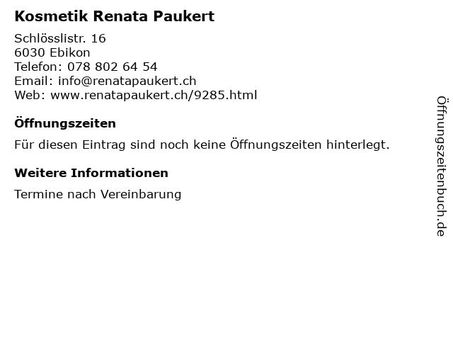 Kosmetik Renata Paukert in Ebikon: Adresse und Öffnungszeiten