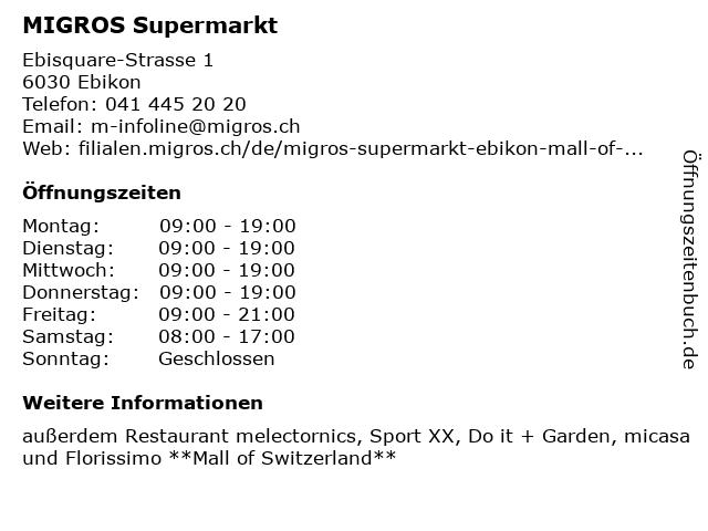 MIGROS Supermarkt in Ebikon: Adresse und Öffnungszeiten