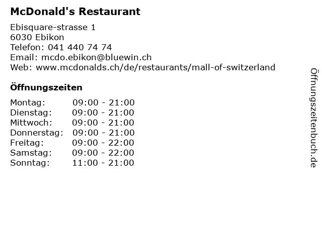 McDonald's Restaurant in Ebikon: Adresse und Öffnungszeiten