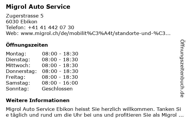 Migrol Auto Service in Ebikon: Adresse und Öffnungszeiten