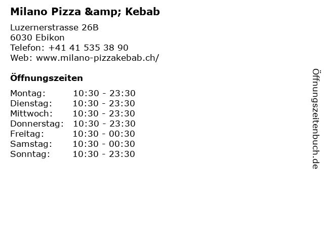 Milano Pizza & Kebab in Ebikon: Adresse und Öffnungszeiten