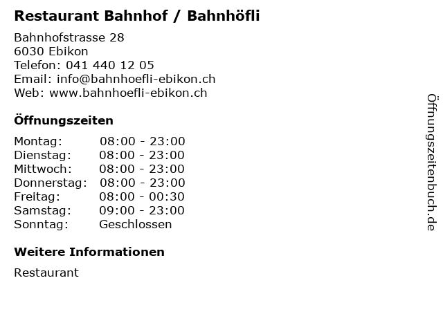 Restaurant Bahnhof / Bahnhöfli in Ebikon: Adresse und Öffnungszeiten