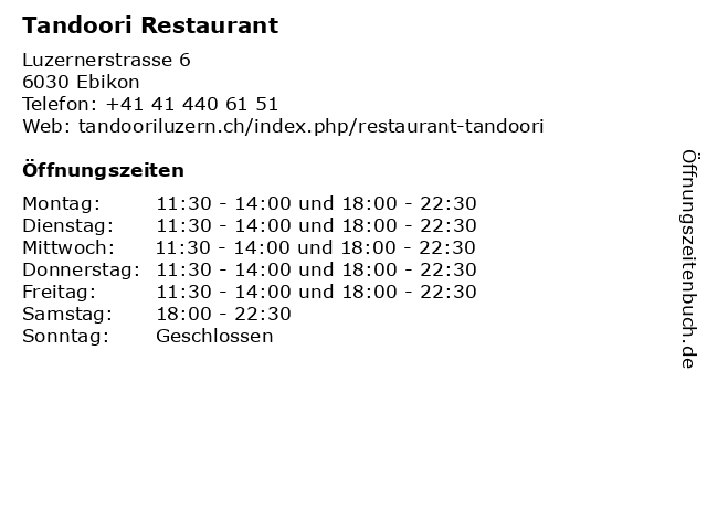 Tandoori Restaurant in Ebikon: Adresse und Öffnungszeiten