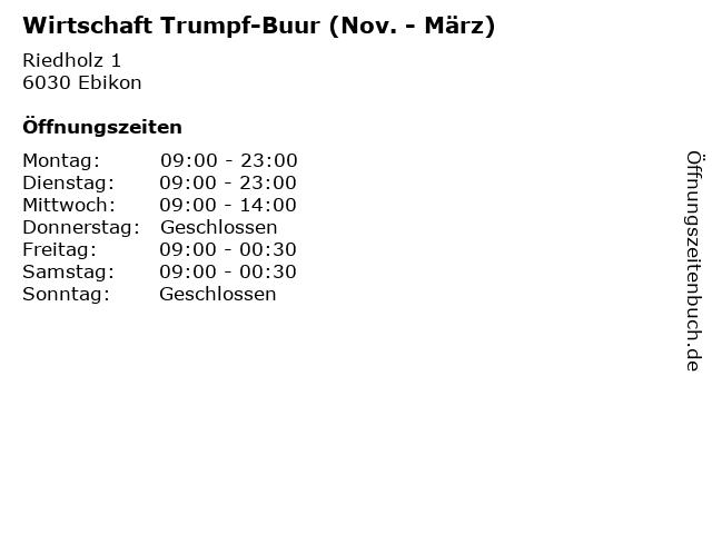 Wirtschaft Trumpf-Buur (Nov. - März) in Ebikon: Adresse und Öffnungszeiten