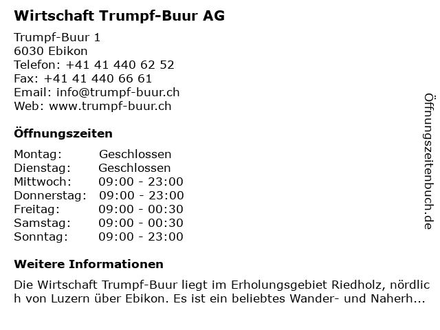 Wirtschaft Trumpf-Buur AG in Ebikon: Adresse und Öffnungszeiten