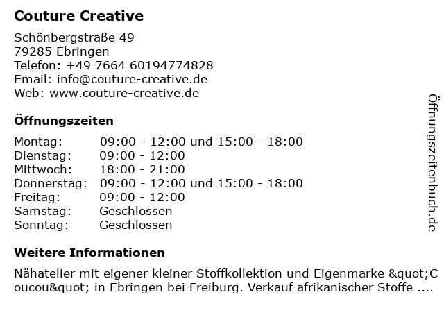 Couture Creative in Ebringen: Adresse und Öffnungszeiten