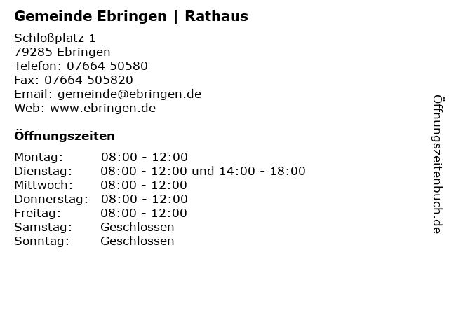 Gemeinde Ebringen   Rathaus in Ebringen: Adresse und Öffnungszeiten