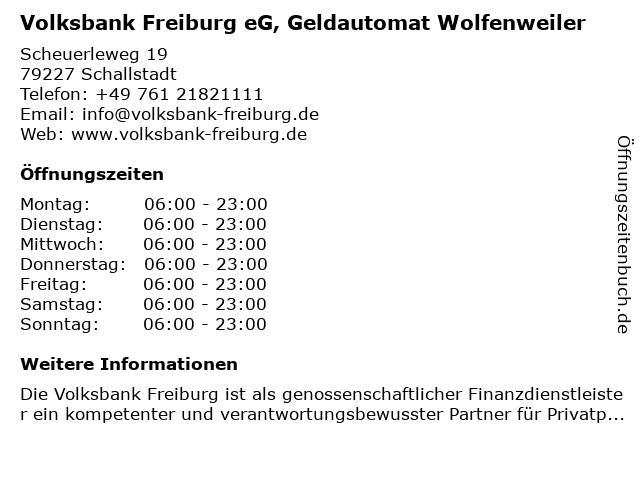 Volksbank Freiburg eG (Geldautomat Filiale ) in Ebringen: Adresse und Öffnungszeiten