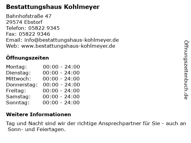 Bestattungshaus Kohlmeyer in Ebstorf: Adresse und Öffnungszeiten