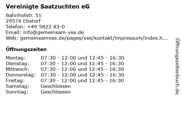 Vereinigte Saatzuchten eG in Ebstorf: Adresse und Öffnungszeiten