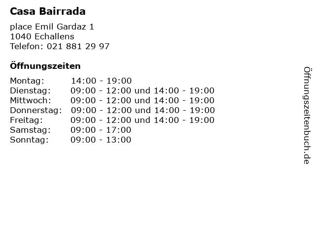 Casa Bairrada in Echallens: Adresse und Öffnungszeiten