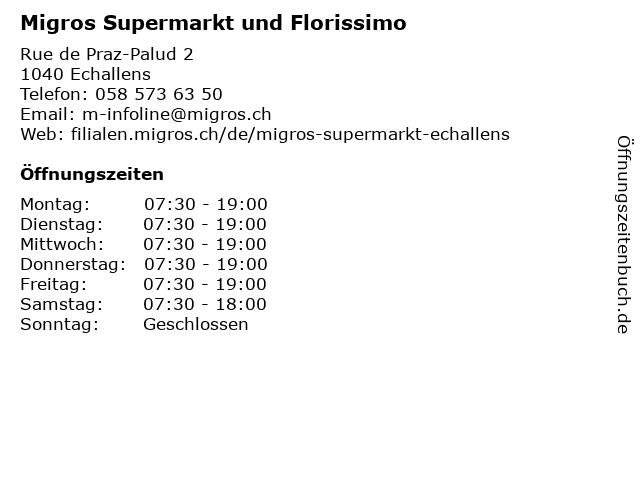 Migros Supermarkt in Echallens: Adresse und Öffnungszeiten