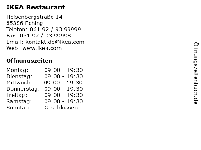 IKEA Restaurant in Eching: Adresse und Öffnungszeiten