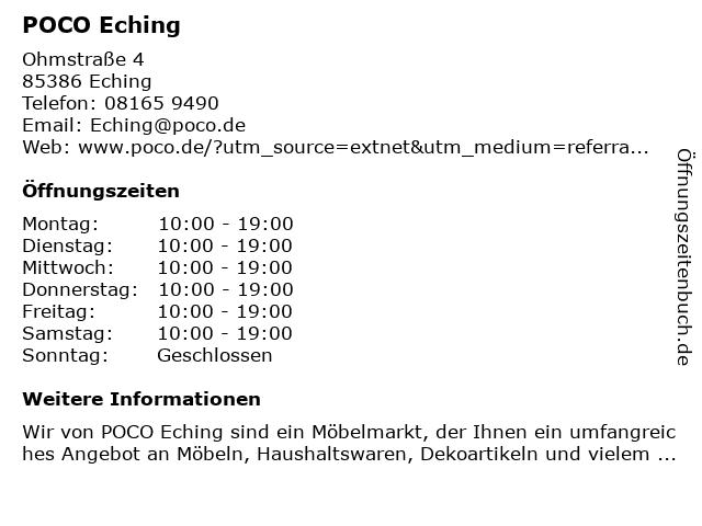 ᐅ öffnungszeiten Poco Einrichtungsmarkt Ohmstraße 4 In Eching