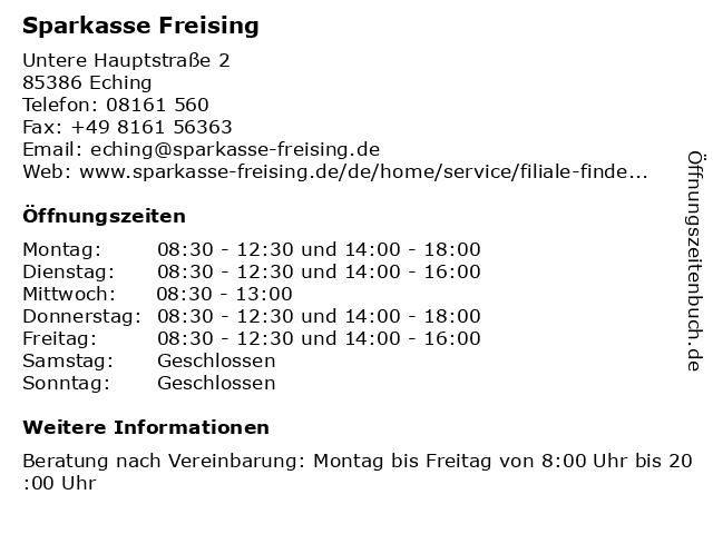 ᐅ öffnungszeiten Sparkasse Freising Geschäftsstelle Eching