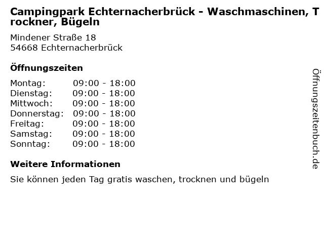 Campingpark Echternacherbrück - Waschmaschinen, Trockner, Bügeln in Echternacherbrück: Adresse und Öffnungszeiten