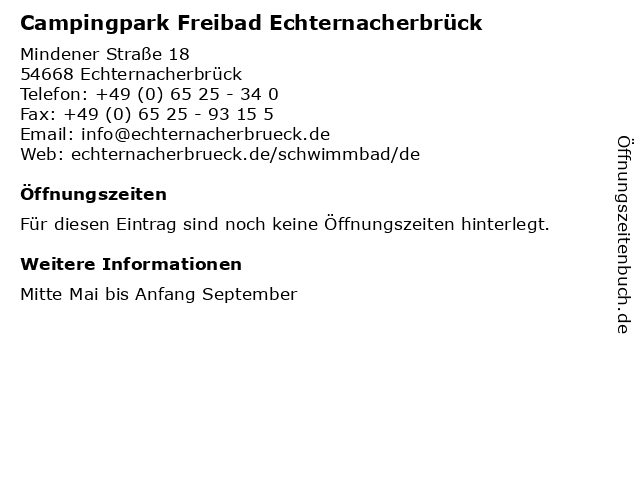 Campingpark Freibad Echternacherbrück in Echternacherbrück: Adresse und Öffnungszeiten