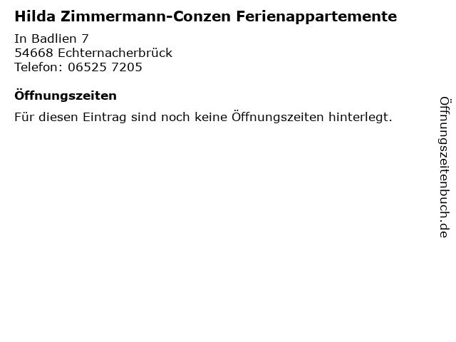 Hilda Zimmermann-Conzen Ferienappartemente in Echternacherbrück: Adresse und Öffnungszeiten