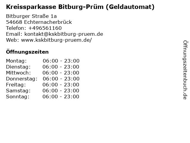 Kreissparkasse Bitburg-Prüm - (Geldautomat NORMA Markt, Eingang Trierer Straße) in Echternacherbrück: Adresse und Öffnungszeiten