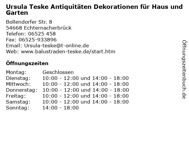 Ursula Teske Antiquitäten Dekorationen für Haus und Garten in Echternacherbrück: Adresse und Öffnungszeiten