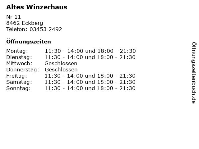 Altes Winzerhaus in Eckberg: Adresse und Öffnungszeiten
