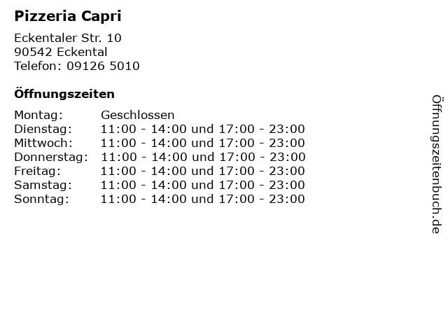 Pizzeria Capri in Eckental: Adresse und Öffnungszeiten