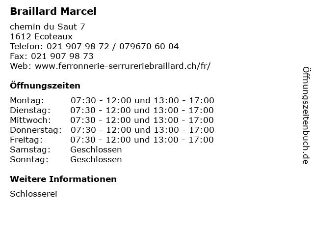Braillard Marcel in Ecoteaux: Adresse und Öffnungszeiten