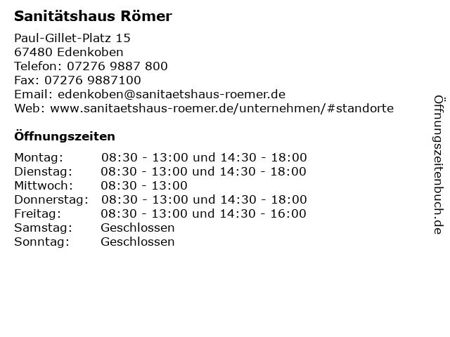 Sanitätshaus Römer in Edenkoben: Adresse und Öffnungszeiten
