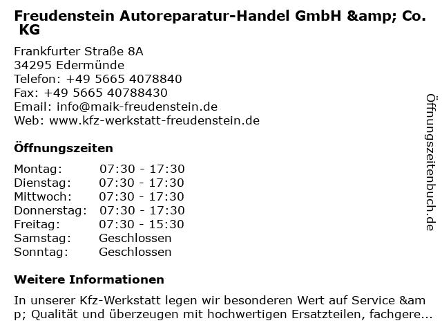 Freudenstein Autoreparatur-Handel GmbH & Co. KG in Edermünde: Adresse und Öffnungszeiten